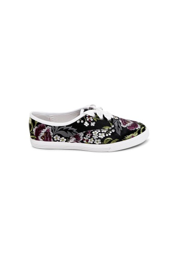 prettyFIT black Black Satin With Floral Embroidery Sneakers 0A4B9SH460A9BBGS_1
