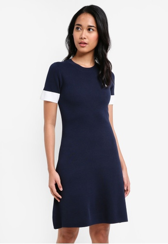 Jack Wills navy Baverstock Contrast Fit And Flare Dress A7BB3AAA2DD477GS_1