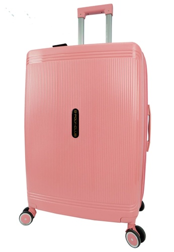 Poly-Club pink and gold Poly-Club 20inch Unbreakable PP Hard Case Trolley Travel Luggage with Anti-theft Zipper- BA9924 Rose Pink 83174AC1F5ACCCGS_1