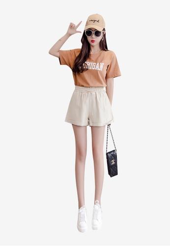 Lara beige Women's Elastic Waist Drawstring Fasten Shorts CA980AAEB5BD55GS_1