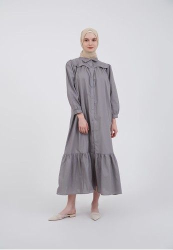 Hijabenka grey Sephia Fia Collar Dress Grey 100F3AA0A36A3BGS_1