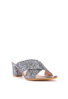 05e204b9c2 Chloe Edit Metallic Cross Strap Block Heel Slides High Heels Php 2,299.00.  Sizes 36 37 38 39