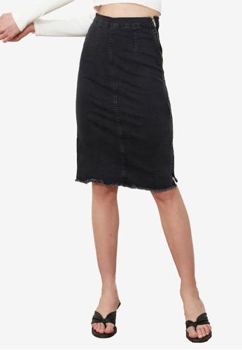 Trendyol black Frayed High Waist Panel Denim Skirt D2853AAD825F65GS_1