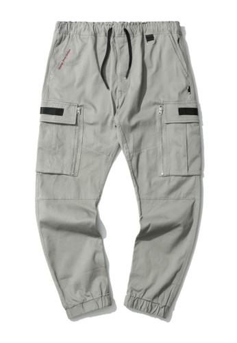 izzue grey Cargo zip pocket joggers B471AAA7EBB950GS_1