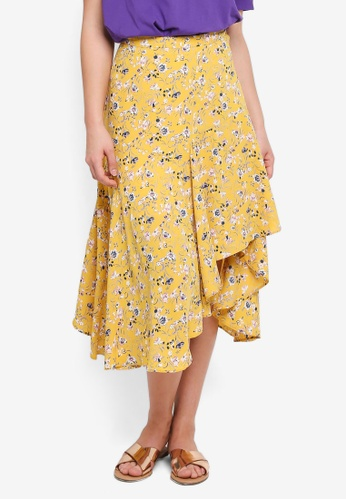 NAIN yellow Flare Floral Skirt 363D5AAF416731GS_1
