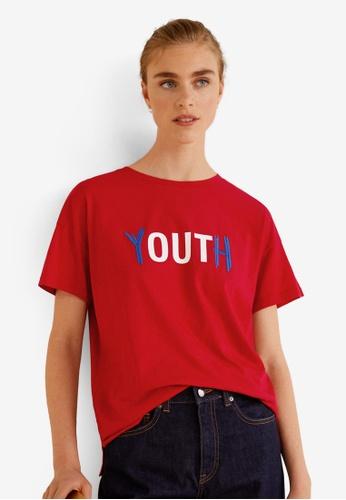 Mango red Organic Cotton Message T-Shirt DF985AA206A3DBGS_1