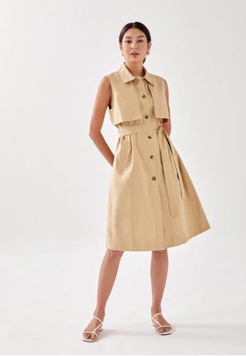 Love, Bonito brown Marci Utilitarian Panelled Coat B8AB1AA9B2F025GS_1