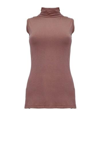 POPLOOK brown BASICS Janan Turtleneck Sleeveless Top E4E13AA29AAA58GS_1