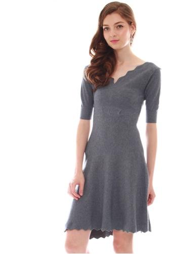 JOVET grey V-Neck Knit Dress 962DFAA32918CDGS_1
