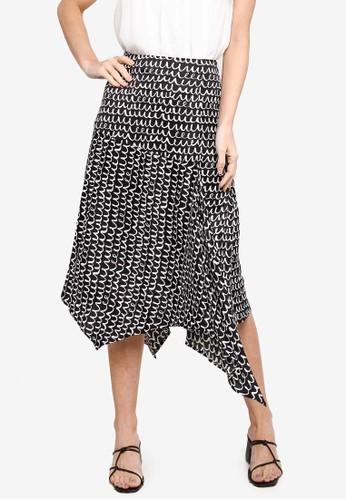 Saturday Club black Printed Skirt With Asymmetric Hem 2E5A3AA1F22FECGS_1