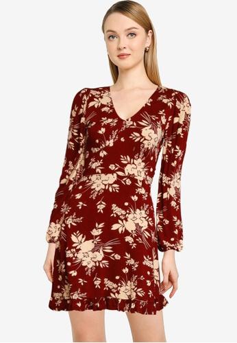 Miss Selfridge red Burgundy Floral Fit & Flare Dress 4F65CAA59B4EBDGS_1
