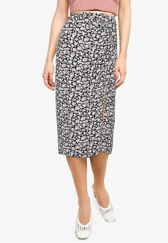 Abercrombie & Fitch black Knotted Midi Skirt B325AAAA90BF84GS_1