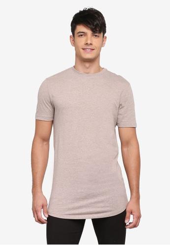 River Island beige Curved Hem T-Shirt 7948DAAD0D9BF5GS_1