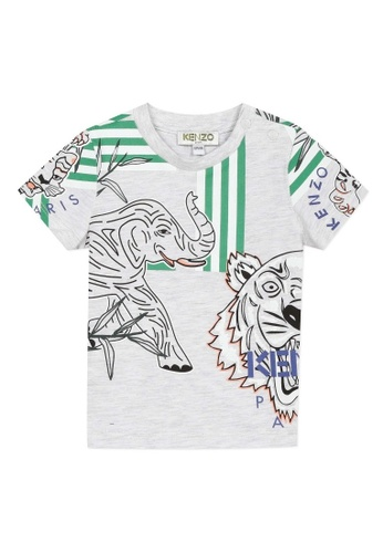 KENZO KIDS black and grey and green and blue and multi KENZO BABY BOYS T-SHIRT 83A79KA5CE223EGS_1
