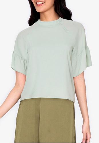 ZALORA BASICS green Sleeve Detail Top 48684AA44727B7GS_1