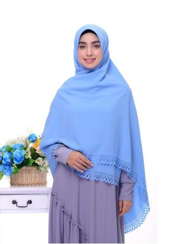 First Hijab blue Kamila Square Hijab In Blue Sea 30081AAE342D26GS_1