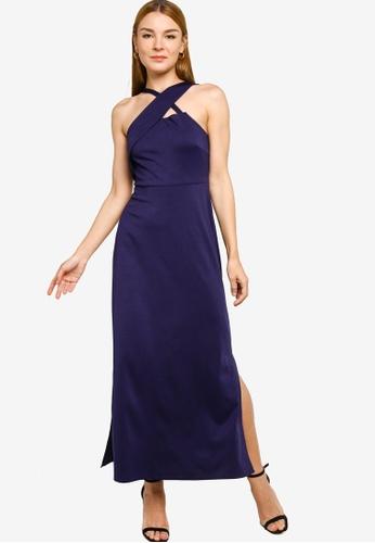 ZALORA OCCASION navy Asymmetric Shoulder Knit Dress 713D9AA4B4E1E2GS_1