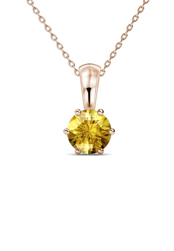 Her Jewellery yellow and gold Birth Stone Pendant (November, Rose Gold) - Made with premium grade crystals from Austria 23DF0AC3A8DC43GS_1