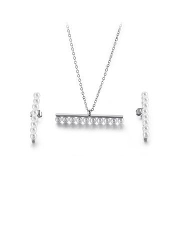 Glamorousky 白色 簡約優雅幾何仿珍珠316L鋼項鏈和耳釘套裝 0C622AC428BC57GS_1