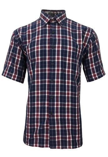 Pacolino purple Pacolino - Korea Polynosic Wrinkle Free Checker Formal Casual Short Sleeve Men Shirt 3A1FBAAB65B891GS_1