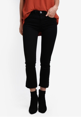 River Island black Crop Flare Jeans RI009AA0S31MMY_1