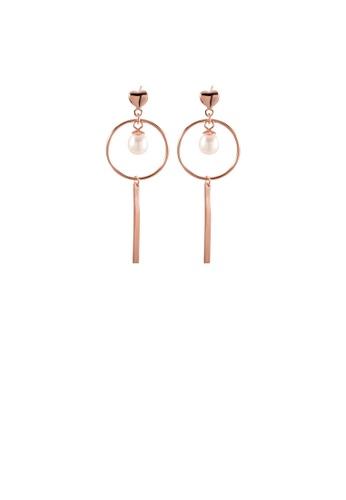 Glamorousky white 925 Sterling Silver Plated Rose Gold Simple Temperament Geometric Circle Tassel Imitation Pearl Earrings B6D09AC462DE6DGS_1