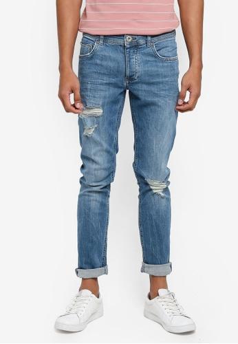 River Island 藍色 Eddy Skinny Jeans 07E1BAAB9C01DBGS_1