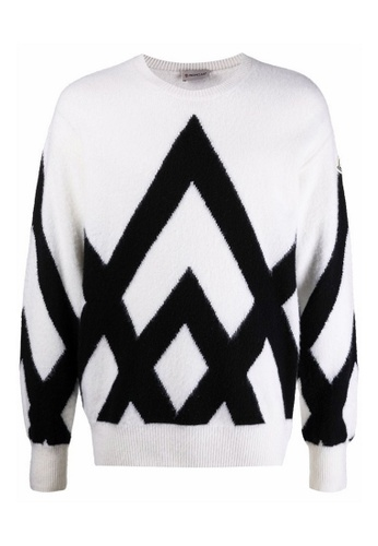 Moncler white Moncler Jacquard-Knit Mountains Graphic Sweater in White 1EE03AACB5798BGS_1