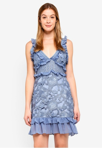 True Decadence blue V Neck Lace Mini Dress With Ruffle Trims 1F522AA2F8FF97GS_1