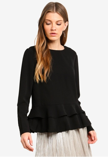 Brave Soul black Long Sleeve Blouse With Ruffle Layers At The Bottom 7CF53AA20281B1GS_1