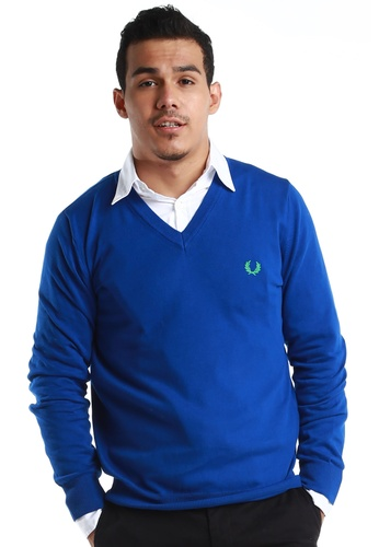 Fred Perry Green Label blue Electric Blue V-Neck Sweatshirt FR595AA67WWQMY_1