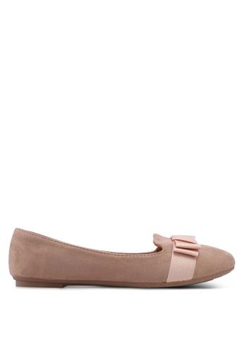 Noveni brown Round Toe Flats With Bow 5B5F6SHA2DAE87GS_1