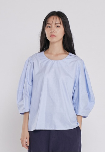 so that's me blue Belle Puff Sleeve Cotton Plaid Top Blue 2DF13AA084089AGS_1