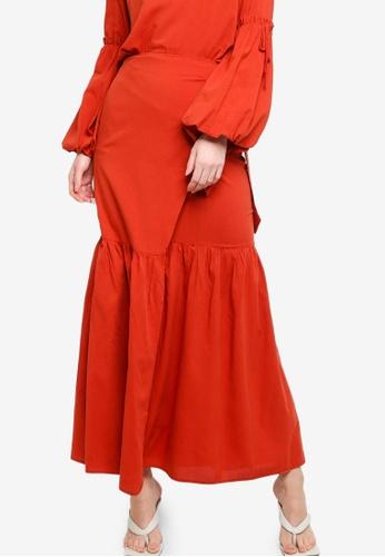 Zalia brown Gathered Wrap Skirt 0ACD9AA3DC7D33GS_1