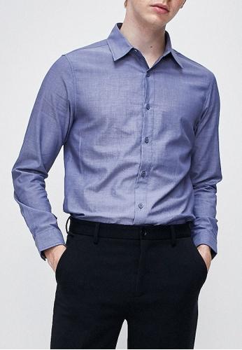Urban Revivo blue Long Sleeve Woven Shirt 2F4B9AA7FC79A2GS_1