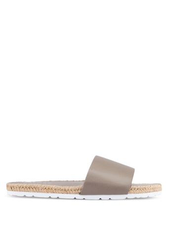 ZALORA grey and brown Faux Leather Pool Sliders 337E3SH3D8E5F5GS_1