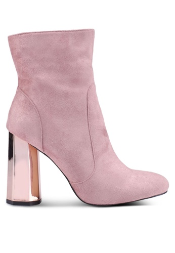 Public Desire pink Steel Mirror Heel Ankle Boots 16C50SH5971531GS_1