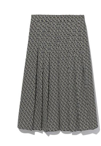 b+ab black Flared chains print skirt F870EAA5DFBF31GS_1