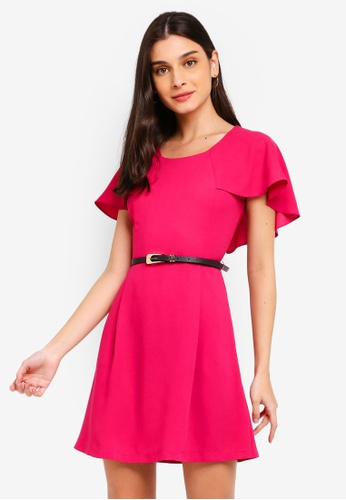 ZALORA 粉紅色 Capelet Fit And Flare Dress With Belt 5C8D3AAAD025E2GS_1