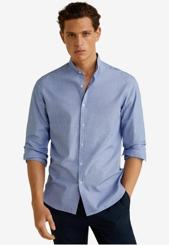 Mango Man 藍色 Slim Fit Mao Collar Shirt 5D7FBAA802C82CGS_1