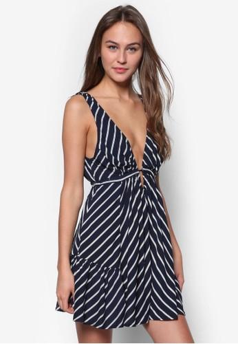 zalora是哪裡的牌子Tanya 低胸挖背條紋傘狀洋裝, 服飾, 夏日洋裝