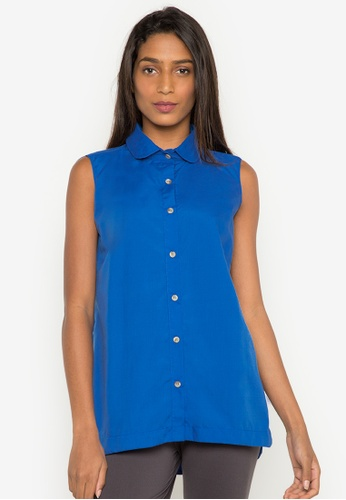 Courier blue Sleeveless Blouse BCC51AA71BABF9GS_1