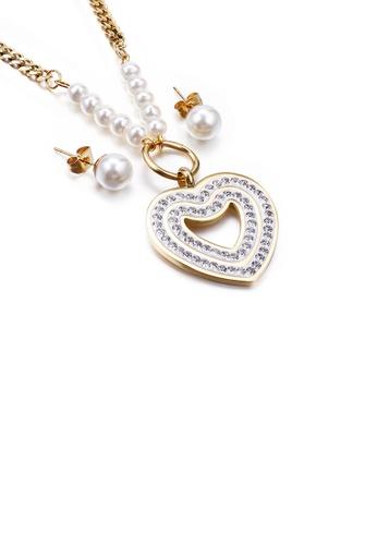 Glamorousky 白色 時尚優雅鍍金色心形仿珍珠鋯石316L鋼項鏈和耳環套裝 B1648AC73CC208GS_1