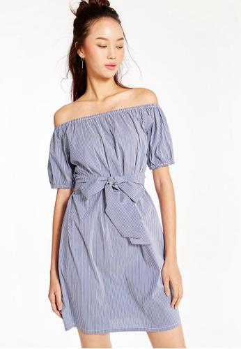fcfff1323e6d4 Buy Pomelo Leanne Striped Off Shoulder Dress Online on ZALORA Singapore
