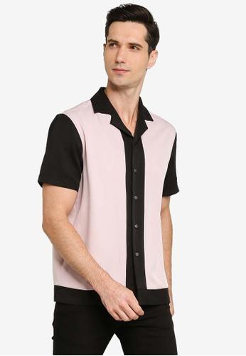 ZALORA BASICS pink Colour Block Revere Collar Shirt 57234AA7D761F4GS_1