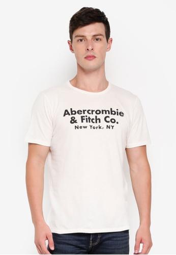 Abercrombie & Fitch 白色 LOGO印花T恤 C8E30AA7896FEFGS_1