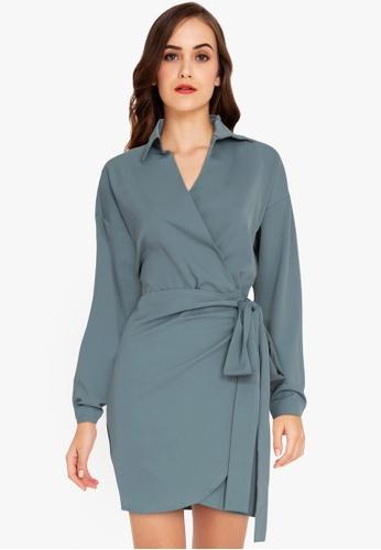 ZALORA WORK blue Wrap Shirt Dress B4B28AA185A8F4GS_1