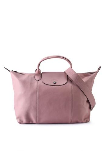 Longchamp pink Le Pliage Cuir Top Handle Bag L (nt) 12F76AC3423512GS_1