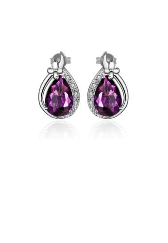 Glamorousky purple Elegant Noble Water Drop-shaped Purple Cubic Zircon Stud Earrings E9A6EAC364E842GS_1