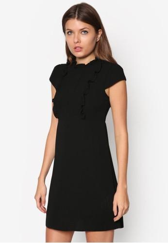 荷葉邊高領短袖洋裝, zalora 鞋評價服飾, 服飾